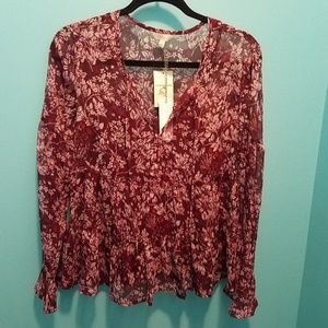 Lucky Brand Peasant Ruffle Blouse